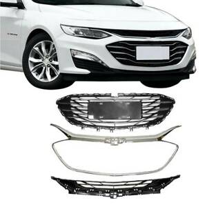For Chevrolet Malibu 2019 2020 Abs Front Upper Lower Bumper Grille Chrome 3pcs