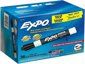 Expo Low odor Dry Erase Markers Chisel Tip Assorted Colors 36 Pack 2047301