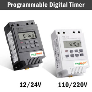 Programmable Digital Timer Switch Time Relay Control 12 220v Dc Din Rail Mount