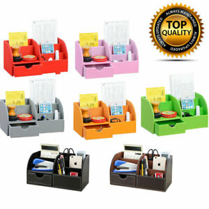Desk Organiser Leather Tidy Card Pen Phone Remote Control Holder Storage Box