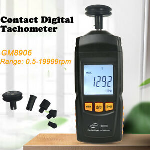 Gm8906 Digital Rev Counter Tachometer Handheld Contact Measurement 0 5 19999rpm