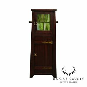 The Lakeside Craft Shops Mission Arts Crafts Slag Glass Smoking Stand Cabinet