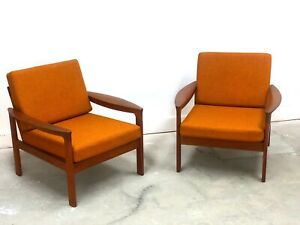 Set 2 Mid Century Danish Modern Teak Komfort Lounge Chairs