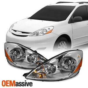 For 2006 2010 Toyota Sienna Factory Oe Style Headlights Replacement Chrome