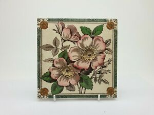 Rare Victorian Floral Aesthetic Movement Print Tint Tile 27