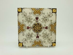 Antique Victorian Transferware And Hand Tint Floral Tile 2