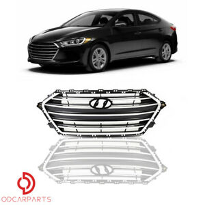 Fit Hyundai Elantra 2017 2018 Front Upper Grille Grill Black Wit