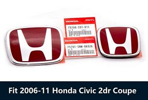 2pc Honda Red H Front Rear Liftgate Emblem Fit 2006 2011 Civic Sedan 2dr Coupe