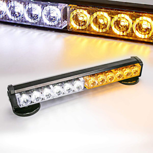 Amber white 12 Led Battery Rooftop Emergency Warning Light Bar Magnetic Base 12v