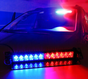Led Emergency Warning Lights Red Blue Visor Strobe Light Bar With Suction Cups