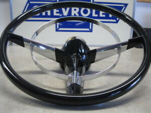 55 56 Chevy New Steering Wheel 15 With Horn Ring Cap 1955 1956 Chevrolet