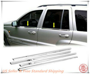 Stainless Steel Polished Chrome Window Sill Trim For 99 2004 Jeep Grand Cherokee