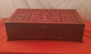 Vintage Wood Carved Red Cigar Storage Box 4 Compartments Latch Dovetail Tree