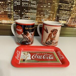 Vintage 80s Coca Cola Lot Of 2 Coffee Beverage Mugs & Small Brand Tray