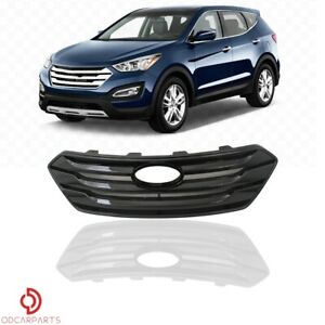 Fits Hyundai Santa Fe Sport 2013 2015 Sport Only Front Upper Grille Gloss Black