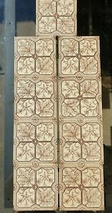 Set Of 9 Victorian Aesthetic Movement Floral Printed Tiles