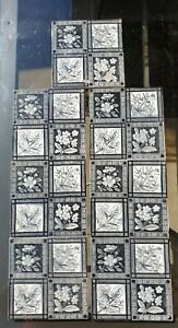 Set Of 7 Victorian Aesthetic Movement Floral Printed Tiles