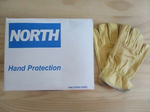 Lot Of 12 Pairs North Brand Cowhide Leather Work Gloves Size Xl Nos