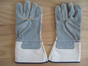 Lot Of 12 Pairs Split Cowhide Leather Palm Work Gloves Long Cuff Size L Nos