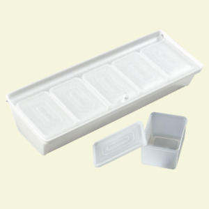 Bar Condiment Caddy With Five 1 25 Pt Inserts And Lid In White