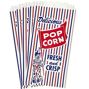 100 Paper Popcorn Bags Red White And Blue Clown Print