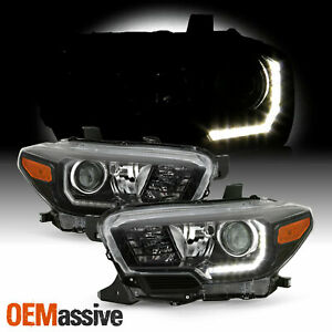 For 16 20 Toyota Tacoma Trd Limited W Led Drl Projector Black Headlights Pair