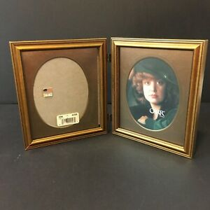 Vintage 80s Gold Wood Hinged Ornate Metal Carr Photo Picture Frame 4x5 Usa