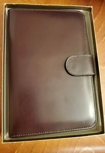 Nwt Bosca Old Leather Address Book Weekly Minder Agenda Planner Dark Brown