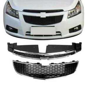 New For 2011 2014 Chevy Cruze Rs Pkg Front Bumper Upper Lower Grille Clip 3pcs