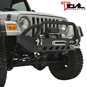 Tidal Front Bumper Black Textured With Winch Plate Fit 87 06 Jeep Wrangler Tj Yj