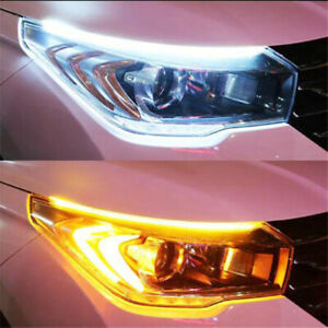 Drl Ultra Thin Car Led Headlight Daytime Running Light Eyebrow Strip White Amber