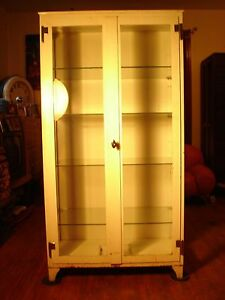 Antique Vintage Industrial Beveled Glass Doctor S Office Medical Cabinet