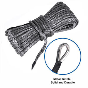 1 4 X50 Grey Synthetic Winch Rope Line Recovery Cable 10000lbs 4wd Suv Pickup