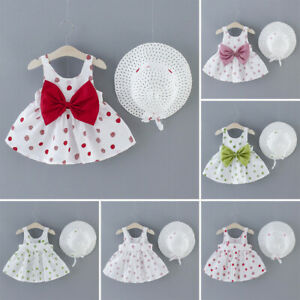 Toddler Kids Baby Girls Dot Print Flower Princess Dress+Hat Cap Clothes Outfits $10.18
