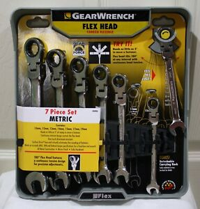 Brand New Gearwrench 7pc Metric Flex Head Combination Wrench Set 44006