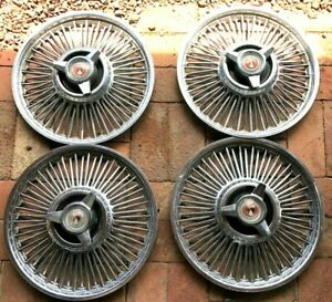 50 S 60 S 70 S 80 S Ford Steel Wire Spinner 14 Hubcaps Set Of Four
