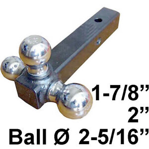 Triple Tri 3 Ball Trailer Hitch Ball 2 Receiver Mount New Free Shipping