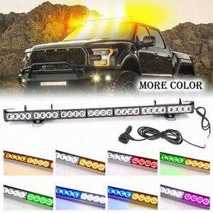 32 Red White Traffic Advisor Emergency Warning Flash Strobe Light Bar 28 Led