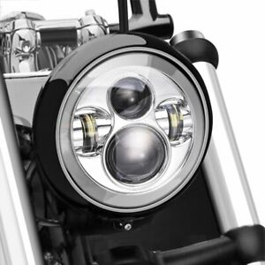 7 Inch Round Led Chrome Headlight With Drl For Harley Davidson Motorcycles
