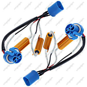 2 9007 Led Light Xenon Hid Headlight Load Resistor Wiring Harness Adapter New