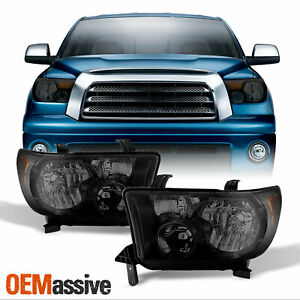 Fits 2007 2013 Toyota Tundra 08 17 Sequoia Black Smoked Headlights Lamps Lh rh