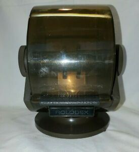 Vintage Rolodex Sw 24 Round Wood Grain Business File Index Swivel Rotary Office