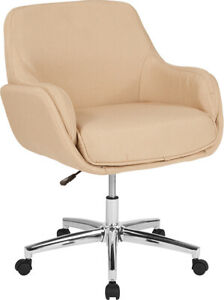 Contemporary Rochelle Home And Office Upholstered Mid back Chair In Beige Fabric