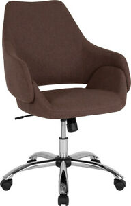 Contemporary Madrid Home And Office Upholstered Mid back Chair In Brown Fabric