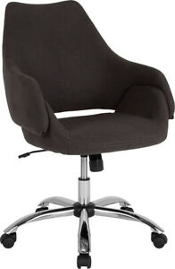 Contemporary Madrid Home And Office Upholstered Mid back Chair In Black Fabric