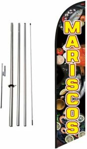 Mariscos Advertising Feather Banner Swooper Flag Sign With Flag Pole Kit And