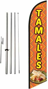 Tamales Advertising Feather Banner Swooper Flag Sign With Flag Pole Kit And