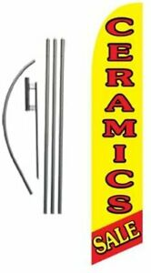 Ceramics Sale Advertising Feather Banner Swooper Flag Sign With Flag Pole Kit