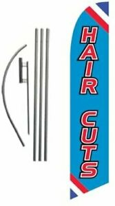 Hair Cuts Advertising Feather Banner Swooper Flag Sign With Flag Pole Kit And