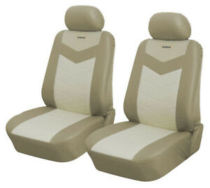Tan Leather Like 2 Front Auto Car Seat Covers Compatible To Lexus 2577